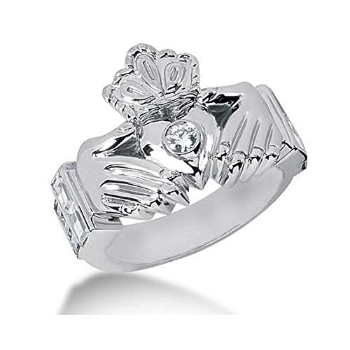 Men's Diamond Irish Claddagh Ring 1 Round Stone 0.15 ct 161-MDR1222 - Size 12.75