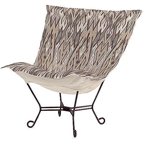 Heavenly Scroll Puff Chair Ikat Stone