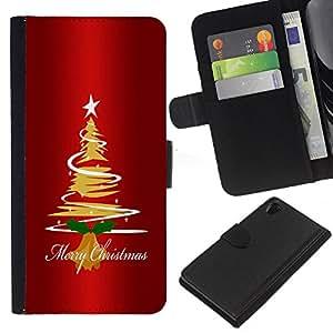 KingStore / Leather Etui en cuir / Sony Xperia Z2 D6502 / Navidad árbol de la estrella Arte Dibujo Luces Feliz