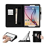 Samsung Galaxy Tab S2 9.7 Case Cover, FYY [Super Functional Series] Premium Leather Case Stand Cover with Card Slots, Note Holder, Quality Hand Strap and Elastic Strap for Samsung Galaxy Tab S2 9.7 (With Auto Wake/Sleep Feature) Black