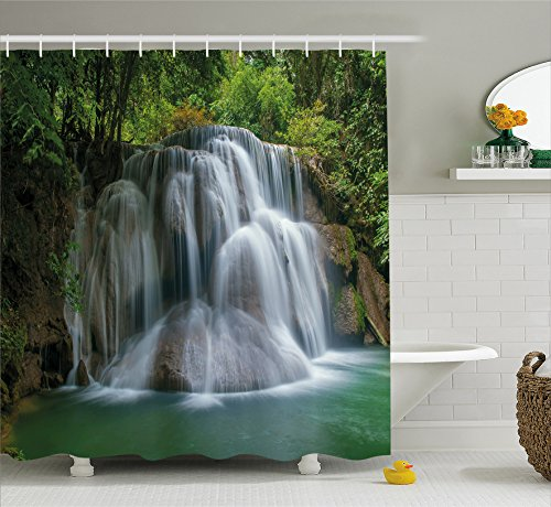 Ambesonne Waterfall Decor Shower Curtain by, Building like Massive Waterfall with Green Thai Exotic Bushes each side Artwork, Fabric Bathroom Decor Set with Hooks, 84 Inches Extra Long, Green by Ambesonne