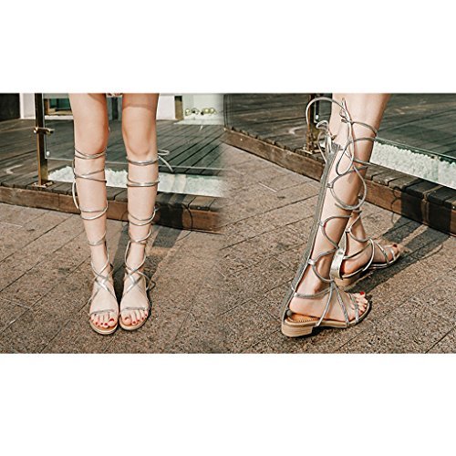 Wrappings Gold Winding Roman Summer Sandals Tied Leg Straps Rivet Sheepskin Flat Shoes Golden WPCwnq84
