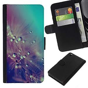 KLONGSHOP // Tirón de la caja Cartera de cuero con ranuras para tarjetas - Gotas de lluvia Flores del trullo en colores pastel - HTC DESIRE 816 //
