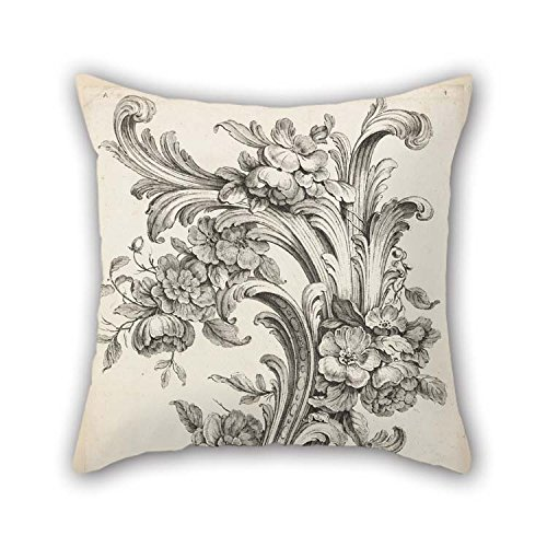 20 X 20 Inches / 50 by 50 cm Oil Painting Alexis Peyrotte - Floral and Acanthus Leaf Design Throw Pillow Case Twin Sides Ornament and Gift to Couch Shop Couples Home Theater Her Dance Room