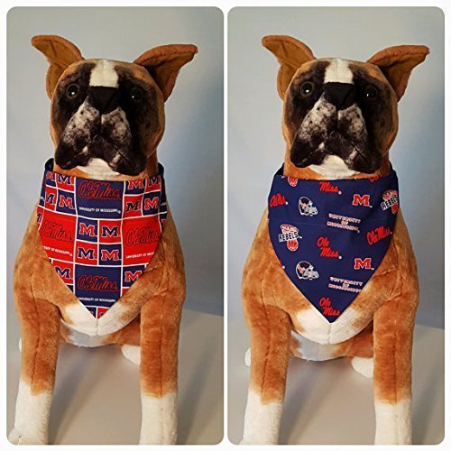Bandana Rebel (Reversible Bandana, Made With University of Mississippi Fabric, Ole Miss, Rebels, Scarf, Dog, Cat, Pet, Slip On Over The Collar, (Does Not Tie)2 in one)