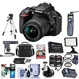 Nikon D5600 DSLR Camera Kit with AF-P DX NIKKOR 18-55mm f/3.5-5.6G VR Lens, Black - Bundle With Camera Case, 64GB SDxC Card, Spare Battery, Tripod, Video Light, Shotgun Mic, Software Package, And More