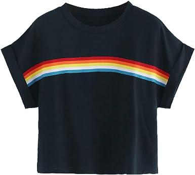 Camiseta de Mujer, Verano Manga Corta en Arco Iris Impresión Moda Casual T-Shirt Blusas Camisas Camiseta Originales Cuello Redondo Mujer Suave básica Camiseta Top: Amazon.es: Ropa y accesorios