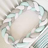 Baby Crib Bumper Plush Nursery Cradle Decor Knotted Braided Junior Bed Sleep Safety Bedside Padded Plush Cushion for Newborn Gift