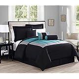 7 Piece Queen Rosslyn Black/Teal Comforter Set