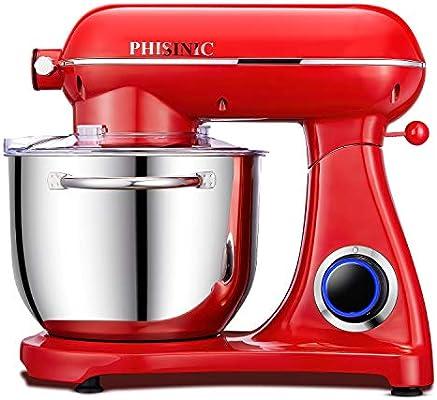 Batidora Amasadora, PHISINIC Amasadora de Pan Repostería, 1800 W 6.5 L Robot de Cocina Multifunción, Potente y Silencioso, Cuerpo Metálico, 6 Velocidades, Amasador, Batidor y Varillas, color Rojo: Amazon.es: Hogar