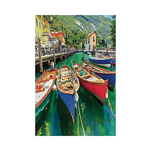 Polyester Garden Flag Outdoor Flag House Flag Banner,Italy,Summer Landscape and Wooden Boats on the Lake Garda Torbole Town Fishing Maritime Decorative,Multicolor,for Wedding Anniversary Home -