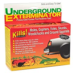 The Underground Exterminator uses carbon monoxide fumes from your gasoline powered vehicle exhaust pipe. Pressurized fumes go to the rodent who must then breathe in the fumes, dying quickly and without pain. It will often kill many of the hid...