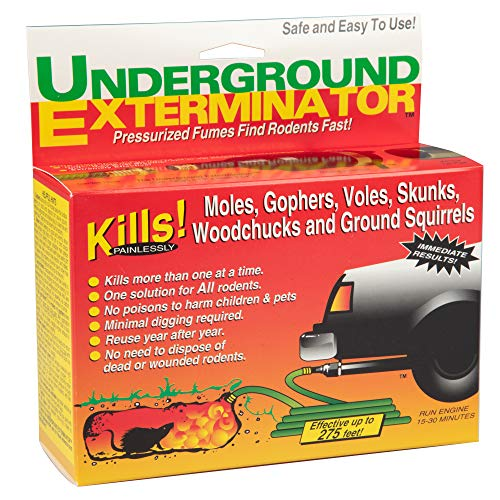 Underground Exterminator Mole and Gopher Killer - Car Exhaust Pipe Attachment to Gas and Exterminate Rodents Humanely - Kills Moles, Gophers, Skunks, Rats, Snakes and all Outdoor Underground Pests