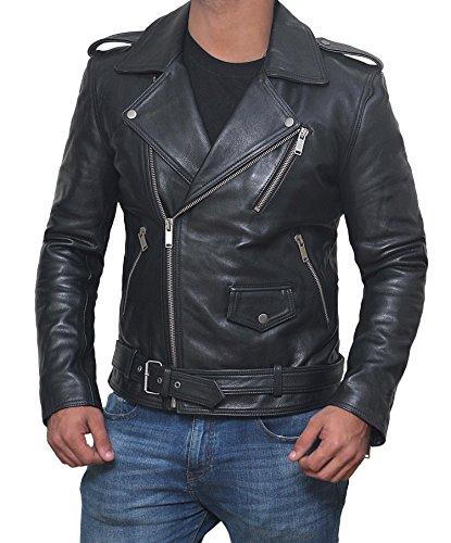 Motorcycle Leather Jacket Mens - Biker Jackets Men (Black - Belted Rider, 3XL)