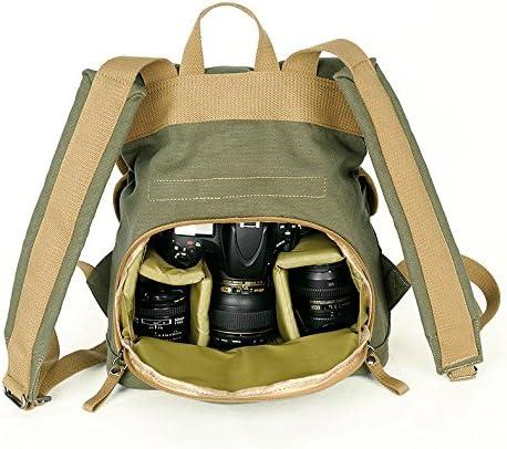 vintage waterproof canvas casual pocket camera backpack bag for DSLR EVIL DC Camera Green Color