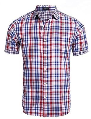 Coofandy Men's Woven Plaid Short Sleeve Casual Button Down Shirt