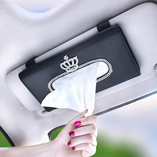 MLOVESIE Bling Bling Car Tissue Holder, Sun Visor Napkin Holder, Car Visor Tissue Holder, PU Leather Backseat Tissue case Holder for car,Vehicle