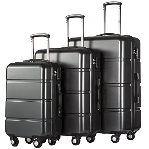 Coolife Luggage 3 Piece Sets PC+ABS Spinner Suitcase 20 inch 24 inch 28 inch (dark gray)