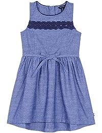 Nautica Girls' Chambray Dress with Lace Trim