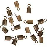 Beadaholique 50-Piece Fold Over Cord Ends for Leather, 3mm, Antiqued Brass