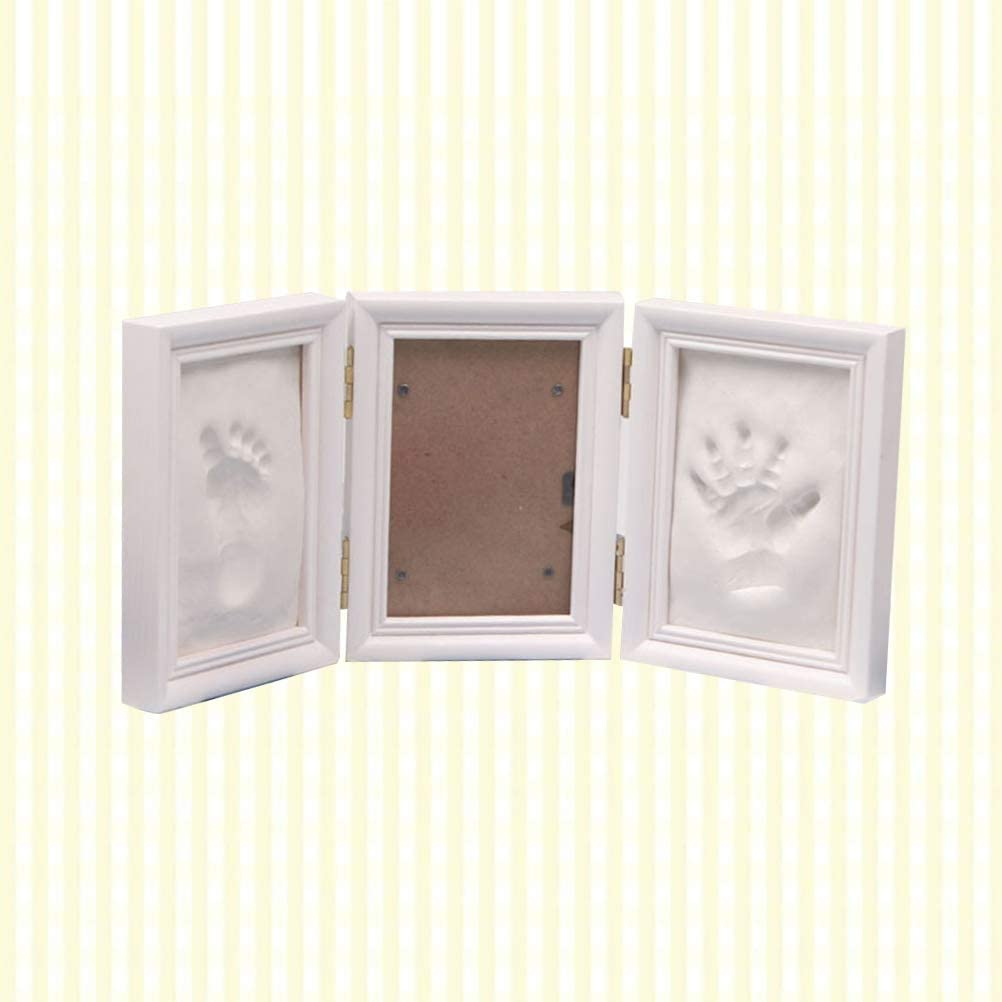 White LIOOBO Baby Picture Frame Tri-fold Baby Handprint Footprint Kit Photo Frame Kit for Baby Memories Souvenir