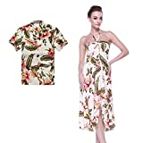 Couple Matching Hawaiian Luau Party Outfit Set Shirt Dress in Cream Rafelsia Men L Women S