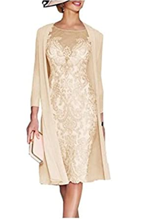 080c077a0fda5 Snow Lotus Women's Two Pieces and Knee Chiffon Lace Bridal Gown. Champagne