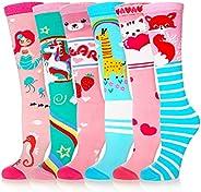 Girls Knee High Socks Cartoon Animal Warm Cotton Stockings Mid Calf Long Boot Socks for Kids 6 Pairs