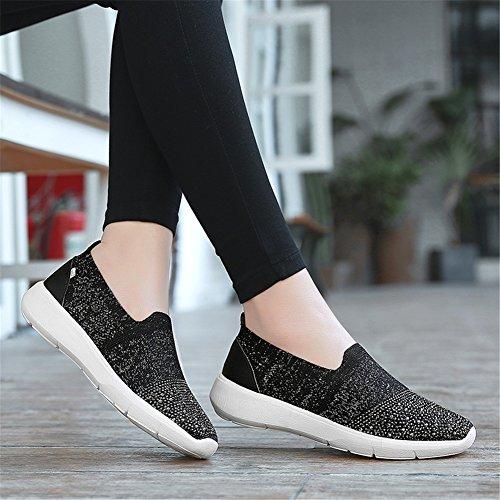 malla plano mujer Shake punto tacón Zapatos de Bottom Rhinestone mujer Slip Zapatos SHINIK de transpirable Fitness Zapatos de Zapatos Soft de On Zapatos New livianos de D q8OSBSwX