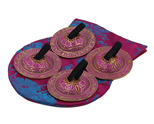 Finger Cymbal Instruments (DharmaObjects Belly Dancing OM Namah Pro Finger Zills or Cymbals (Pink))