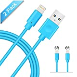 Apple Cable, Avoalre 2pcs 6ft/1.8m Durable iPhone Lightning Charger for iPhone 7 7plus 6 6s 6 plus 6s plus 5 5s SE iPad iPod-Blue