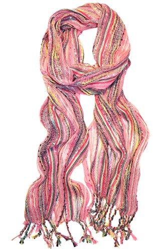 KMystic Multi Color Glitter Threaded Scarf (Pink) - Glitter Scarf