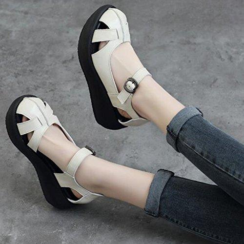 Mujer Tacón Poliuretano Eu38 Individuales Alto Negro Qidi 5 Tamaño uk5 Blanquecino Sandalias Color Blanco Zapatos Materiales 5qnYqHIR