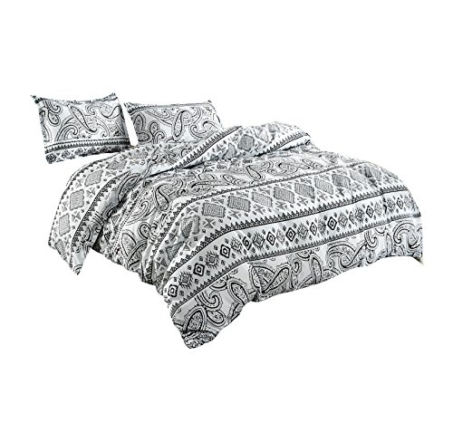 TTMALL Bedding sets 3-pieces Microfiber Duvet Cover Sets, White And Black Paisley Boho Bohemian Style Prints Floral Patterns Design,Without Comforter (Full/Queen, (1Duvet Cover+2Pillowcases)#08) Black And White Paisley Duvet Cover
