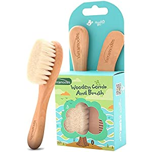 Baby Goat Hair Brush and Comb Set for Newborns & Toddlers Eco-Friendly Safe Brush for Cradle Cap Natural Wooden Comb…