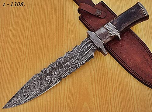 RAM-L-1308, Handmade Damascus Steel 14 Inches Knife Beautiful Colored Bone Handle.