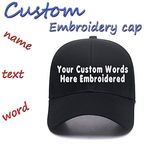 Custom Embroidered Adjustable Baseball Hat Embroidery Cowboy Caps Men Women Text Gift Black