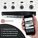 Dripstone 4 Megapixel (4MP) 8 Channel PoE NVR Network Video Recorder with 4 x 4MP Dome IP Cameras with Built-in Microhpne Indoor/Outdoor IP66 Easy Setup with Remote Viewing via Smartphone and Tablet