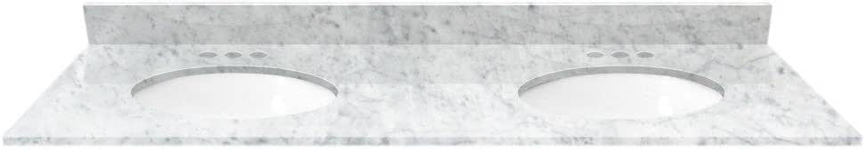 61X22 CAVT6122-8 D Double Carra Natrual Marble Stone,8 CC Faucet Holes Woodbridge CAVT6122D-8 61 x22 Vanity Top with Under Mount Rectangle Bowl Carrara White