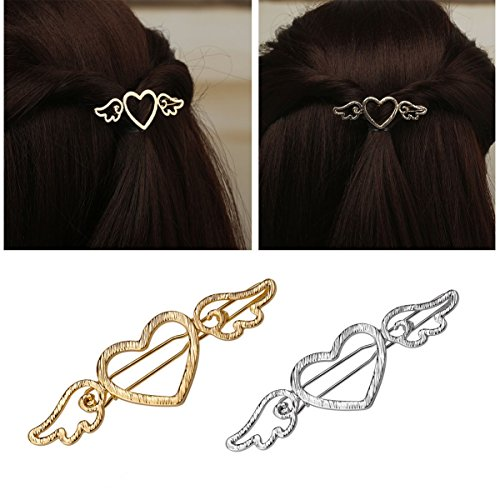 Numblartd 4 Pcs Electroplating Hollow Love Heart Angel Hair Clip Pins - Simple Metal Alloy Side Clip Hairpin Headwear Hair Accessories for Women Lady (Gold x 2 + Silver x 2)