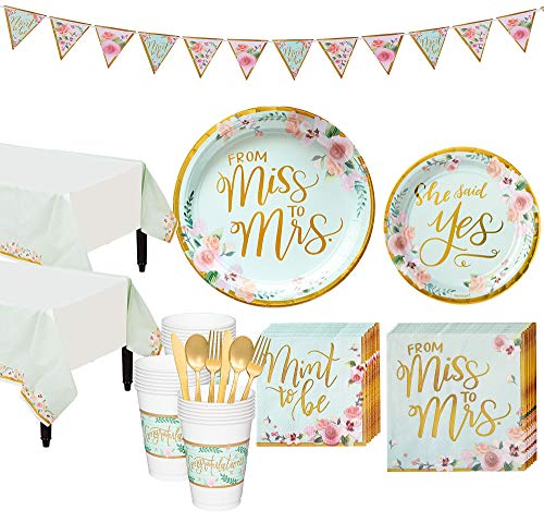 Party City Mint to Be Floral Bridal Shower Party Kit for 32 Guests, Includes Table Covers and Banner
