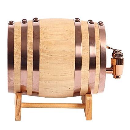 Dispensador De Barril De Madera Para Almacenamiento O Envejecimiento Vino Y Cerveza Con Soporte Y Espita