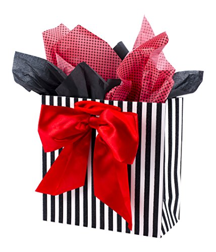 Red Jewelry Bow Gift Bags - Hallmark Signature Large Gift Bag with Tissue Paper for Birthdays, Valentine's Day and More (Red Bow)