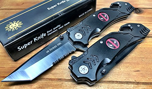 """8.5"""" Deadpool Spring Assisted Pocket Knife Custom Made With Seatbelt Cutter and Glass Breaker"""