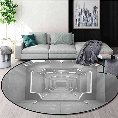 RUGSMAT Outer Space Round Area Rug Ultra Comfy Thick,Supernatural Science Based Travel Journey to Planet Solar System Exploration Image