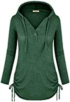 Cyanstyle Women's Long Sleeve Henley V-Neck Button Sweatshirt Tunic Hoodies Casual Pullover with Drawstring