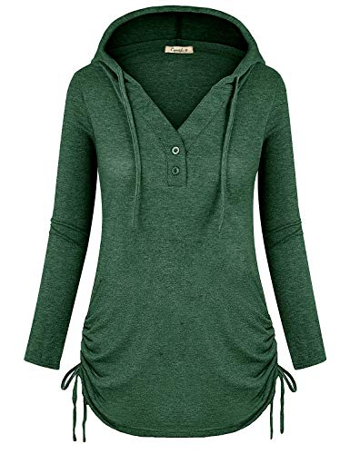 Cyanstyle Women's Long Sleeve Henley V-Neck Button Sweatshirt Tunic Hoodies Casual Pullover with Drawstring Green L