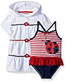 Cover-up set with large printed ladybug on striped swimsuit body. Dot-printed ruffles by waist and solid color bottom. Hooded cover-up with button closure and bottom ruffle.Butterfly flying.