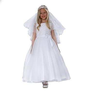 a4c97748c Amazon.com  Angels Garment Little Girls White Satin Lace Sparkle ...