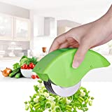 Grips Roller Herb Mincer Chopper- Stainless steel Blades Scallion Chive Mint Cutter with Hand Cover, Green